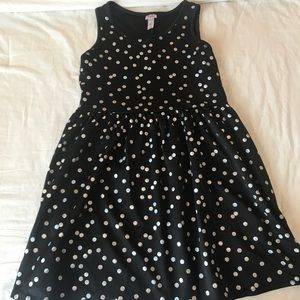 Justice black dress size 16 with silver polka dots